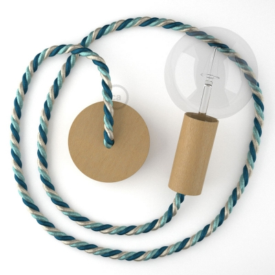 Wooden Pendant, suspended lamp with nautical rope XL in bright fabric Bernadotte, Made in Italy