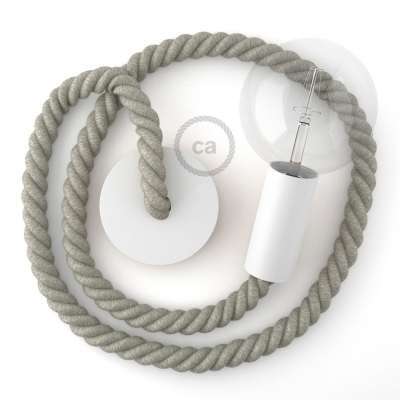 White painted wooden pendant lamp with nautical rope 2XL in natural linen, Made in Italy