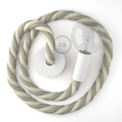 White painted wooden pendant lamp with nautical rope 3XL in raw cotton and natural linen, Made in Italy