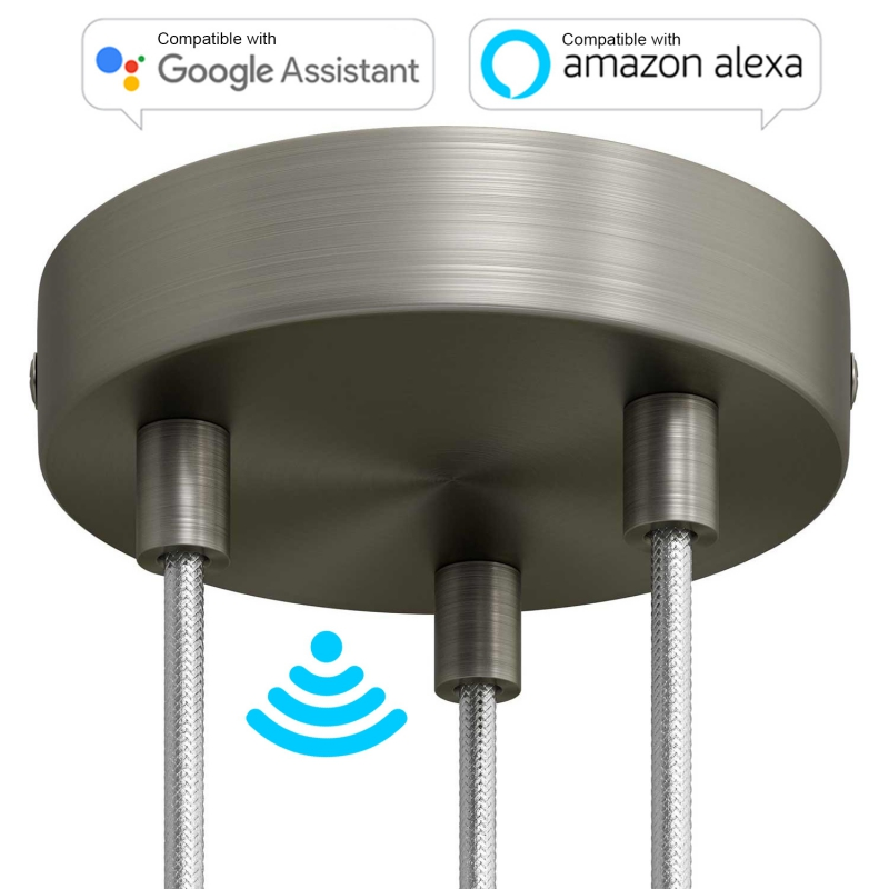 SMART cylindrical metal 3-hole ceiling canopy kit - compatible with voice assistants