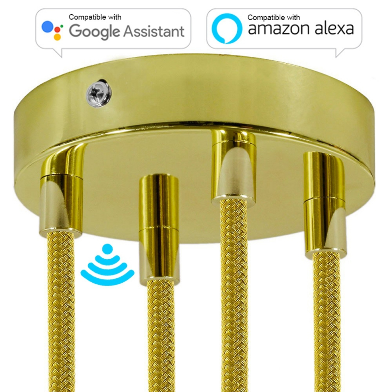 SMART cylindrical metal 4-hole ceiling canopy kit - compatible with voice assistants