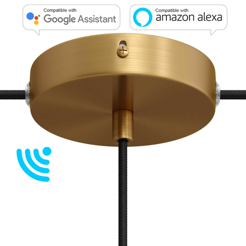 SMART cylindrical metal 1 central hole + 2 side holes ceiling canopy kit - compatible with voice assistants