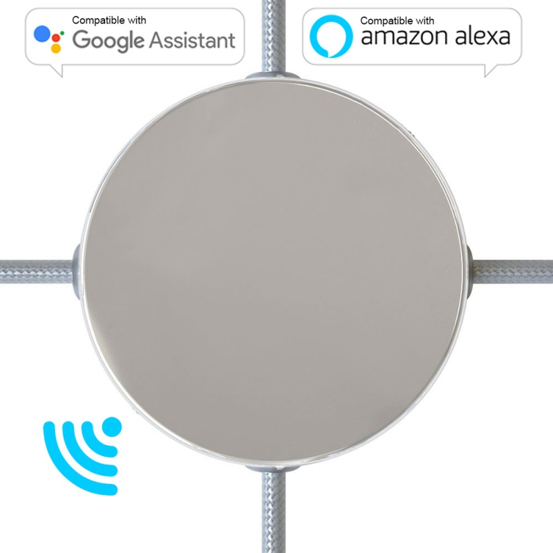 SMART cylindrical metal 4-side hole ceiling canopy kit (junction box) - compatible with voice assistants