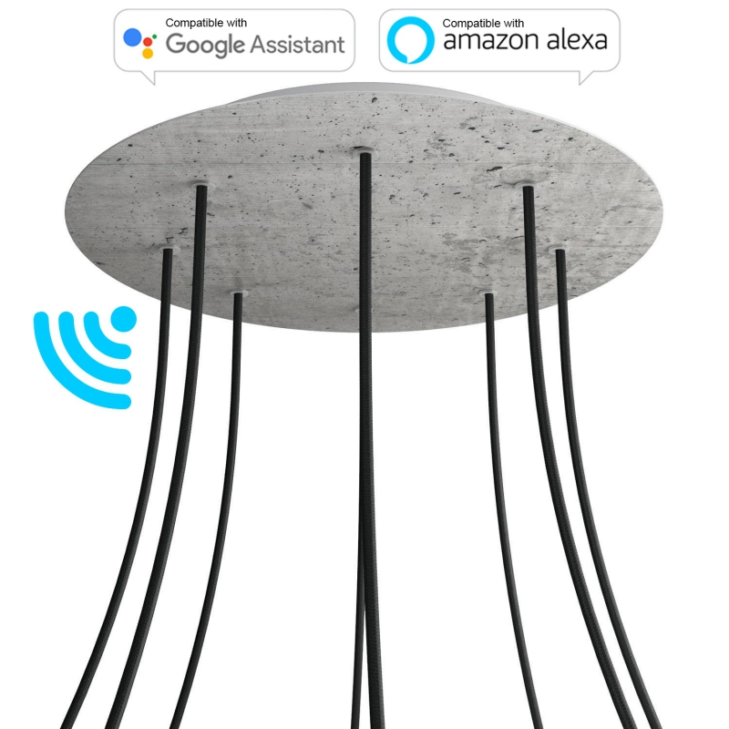 Large Round Smart ceiling canopy, 400 mm Cover Rose-One with 8 holes - compatible with voice assistants