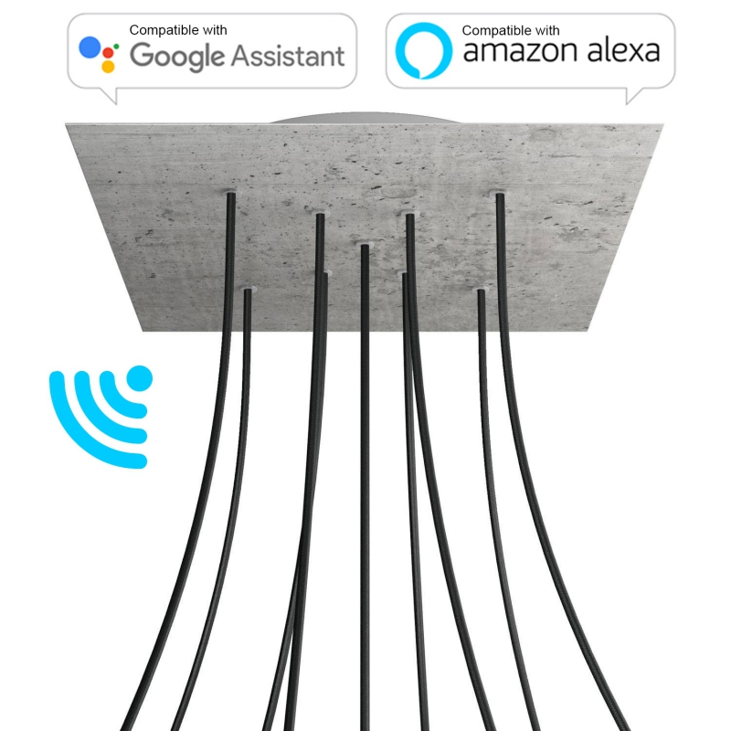 Large Square Smart ceiling canopy, 400 mm Cover Rose-One with 9 X-shaped holes - compatible with voice assistants