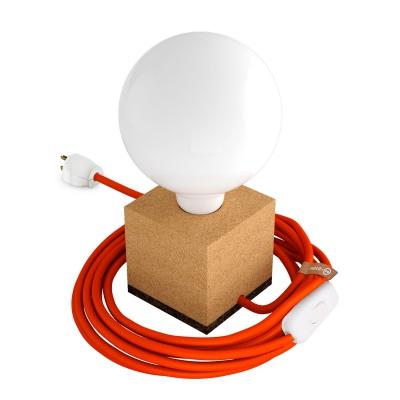 MoCo Cork Cubetto Posaluce - The Cork Table Lamp - Orange Color Cord (RM15)