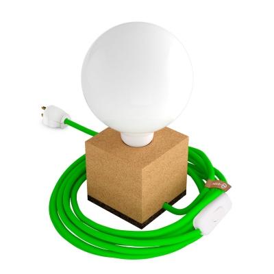 MoCo Cork Cubetto Posaluce - The Cork Table Lamp - Neon Green Color Cord (RF06)