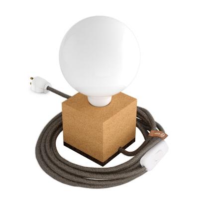 MoCo Cork Cubetto Posaluce - The Cork Table Lamp - Brown & Linen Color Cord (RN04)