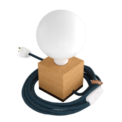 MoCo Cork Cubetto Posaluce - The Cork Table Lamp - Blue Mirage Color Cord (RX10)