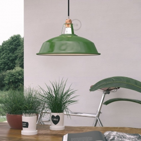 New emerald green varnished metal lampshades!
